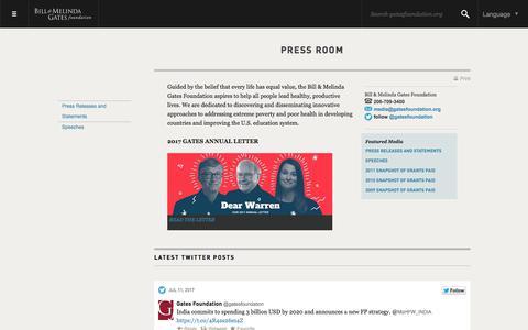 Screenshot of Press Page gatesfoundation.org - Press Room - Bill & Melinda Gates Foundation - captured July 12, 2017