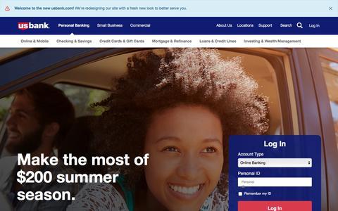Screenshot of Home Page usbank.com - Consumer Banking | Personal Banking | U.S. Bank - captured June 30, 2017