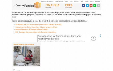 Screenshot of Home Page crowdfunding-italia.com - Crowdfunding Italia - Il Primo Portale per il Crowdfunding dedicato ai progetti italiani!Crowdfunding Italia > Il Primo Portale per il Crowdfunding dedicato ai progetti italiani! - captured June 29, 2017