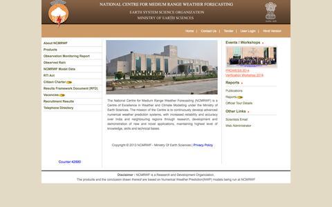 Screenshot of Home Page ncmrwf.gov.in - National Centre for Medium Range Weather Forecasting (NCMRWF) - captured Oct. 7, 2014