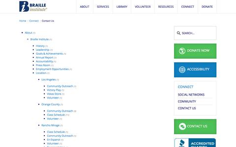 Screenshot of Contact Page brailleinstitute.org - Contact Us - captured Oct. 5, 2014