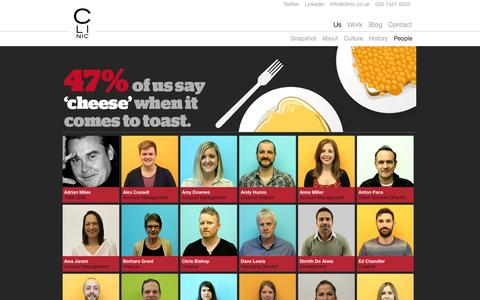 Screenshot of Team Page oneshoe.co.uk - People | Clinic - Creative Agency London - captured Oct. 27, 2014