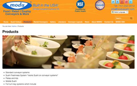 Screenshot of Products Page modusushi.com - Sushi Products, Conveyor Belts, Sushi Plates, Bowls, Freshness System - captured Dec. 22, 2016