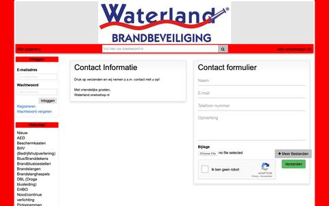 Screenshot of Contact Page wb.nl - Contact Webshop Waterland Brandbeveiliging - captured Oct. 20, 2018