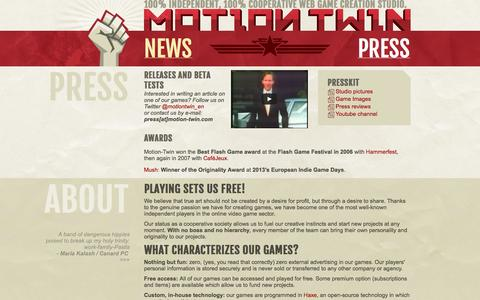Screenshot of Press Page motion-twin.com - Motion-Twin   Presse - captured Sept. 23, 2014