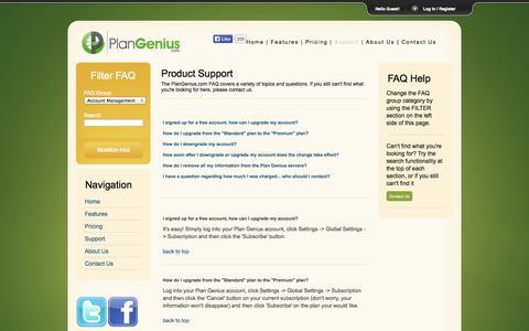 Screenshot of Support Page plangenius.com - PlanGenius.com - Support - captured Oct. 2, 2014