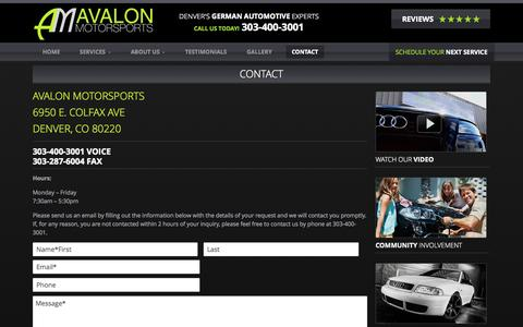 Screenshot of Contact Page avalonmotorsports.com - Contact - Avalon Motorsports - captured Oct. 29, 2014