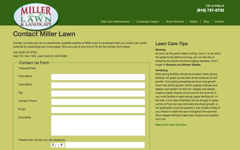 Screenshot of Contact Page millerlawn.com - Contact Miller Lawn | Kansas City Lawn Care Expert - captured Feb. 13, 2016