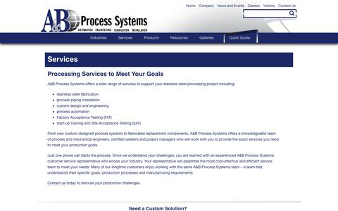Screenshot of Services Page abprocess.com - Stainless Steel Fabrication Services|A&B Process Systems - captured Feb. 1, 2016