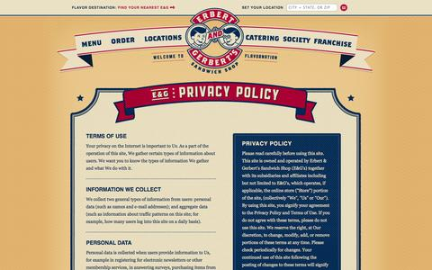 Screenshot of Privacy Page erbertandgerberts.com - Privacy Policy | Erbert & Gerbert's Sandwich Shop - captured Nov. 2, 2014