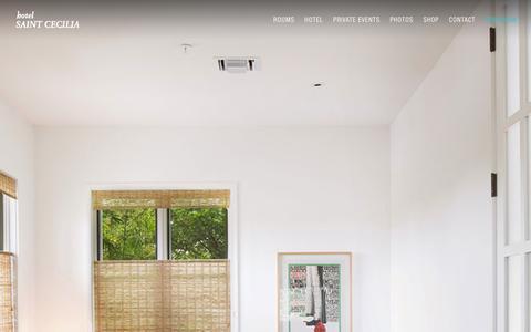 Screenshot of Home Page Menu Page hotelsaintcecilia.com - Home - Hotel Saint Cecilia - captured Sept. 30, 2014