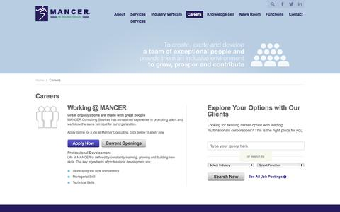 Screenshot of Jobs Page mancerconsulting.com - Career in HR Consulting, Career in Recruitment Industry, Career Growth in Recruitment, Recruitment Consulting, Human Resource Outsourcing - captured Oct. 3, 2014
