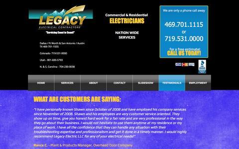 Screenshot of Testimonials Page legacyllcelectric.com - Legacy Electric,colorado,Utah,North Carolina electrician, contractor   TESTIMONIALS - captured Nov. 5, 2016