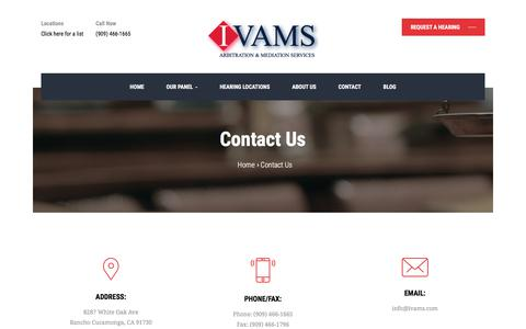 Screenshot of Contact Page ivams.com - Contact Us – IVAMS | Arbitration and Mediation Services - captured July 25, 2018