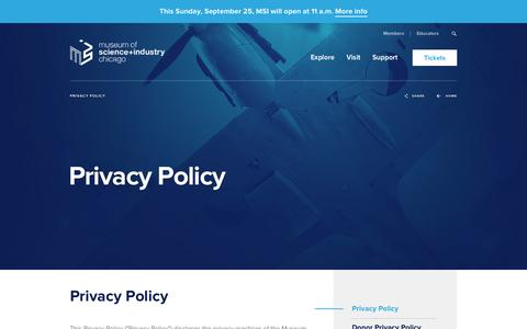 Screenshot of Privacy Page msichicago.org - Privacy Policy - Museum of Science and Industry - captured Sept. 20, 2016