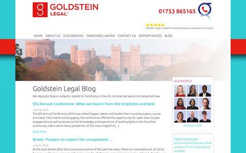 Screenshot of Blog goldsteinlegal.co.uk - Goldstein Legal Blog - captured July 16, 2016