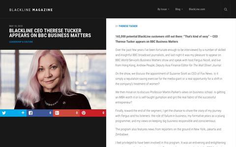 Screenshot of Team Page blackline.com - BLACKLINE CEO THERESE TUCKER APPEARS ON BBC BUSINESS MATTERS | BlackLine Magazine - captured Nov. 29, 2019