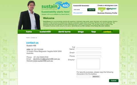 Screenshot of Contact Page sustain450.com.au - :: Sustainability Starts Here :: - Contact Us - captured Oct. 7, 2014