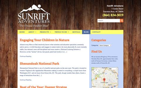 Screenshot of Blog sunrift.com - Blog - Sunrift Adventures - captured July 2, 2018