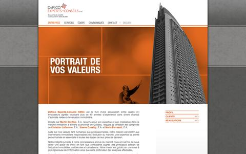 Screenshot of Home Page gdec.ca - DeRico Experts-Conseils | Entreprise | - captured Oct. 5, 2014