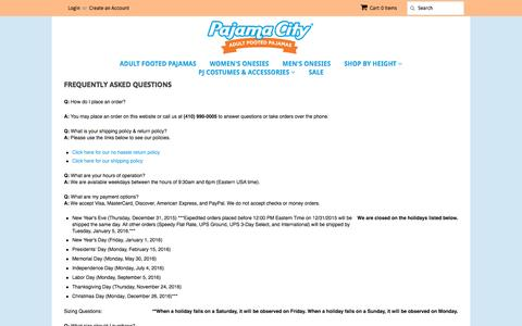 Screenshot of FAQ Page pajamacity.com - Frequently Asked Questions – Pajama City - captured Jan. 24, 2016