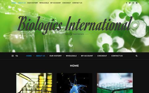 Screenshot of Home Page biologics-intl.com - Biologics International – Specialty Yeast Extracts - captured Nov. 13, 2018