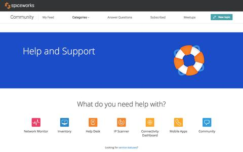 Screenshot of Support Page spiceworks.com - Spiceworks Software Support - Spiceworks - captured March 28, 2018