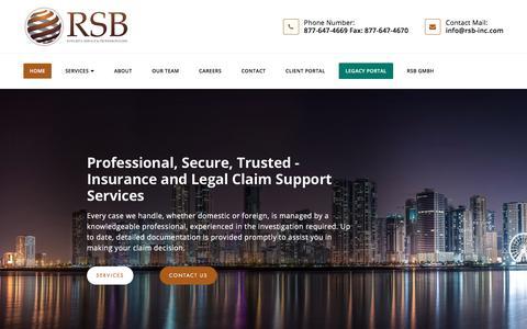 Screenshot of Home Page rsb-inc.com - Research Service Bureau - captured Nov. 9, 2017