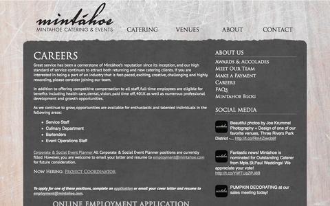 Screenshot of Jobs Page mintahoe.com - Careers | Mintáhoe - captured Oct. 9, 2014