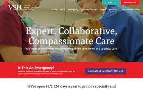 Screenshot of Home Page vshcarolinas.com - Expert, Collaborative, Compassionate Care - Veterinary Specialty Hospital of the Carolinas - captured Feb. 17, 2016