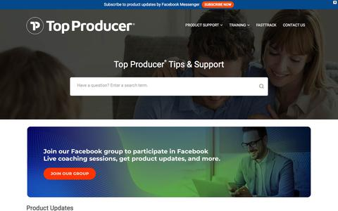 Screenshot of Support Page topproducer.com - Top Producer Campus - captured July 3, 2019