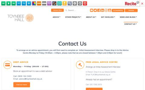 Screenshot of Contact Page toynbeehall.org.uk - Contact Us - Toynbee Hall - captured Oct. 20, 2018
