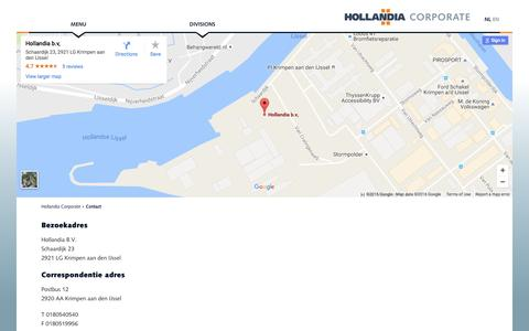 Screenshot of Contact Page hollandia.biz - Contact   Hollandia - captured Nov. 11, 2016