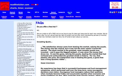 Screenshot of FAQ Page readtheticker.com - Do you offer a free trial ? - captured Nov. 3, 2014