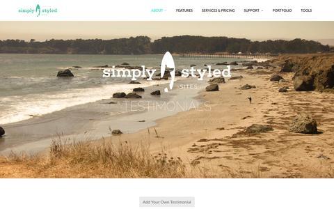 Screenshot of Testimonials Page simplystyledsites.com - Testimonials - Simply Styled Sites - captured Aug. 13, 2016