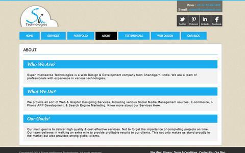 Screenshot of About Page superintech.com - Web Development Company   E-commerce Solutions   i-Phone APP Development   SMM, SEO - captured Oct. 7, 2014