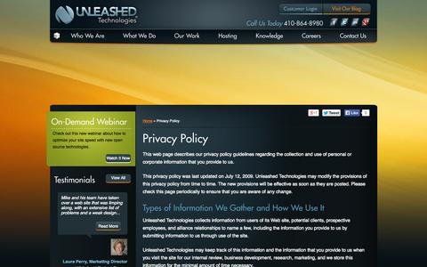 Screenshot of Privacy Page unleashed-technologies.com - Privacy Policy | Unleashed Technologies - captured Sept. 23, 2014