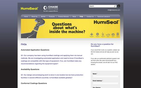 Screenshot of FAQ Page humiseal.com - FAQs | HumiSeal® - captured Oct. 1, 2014