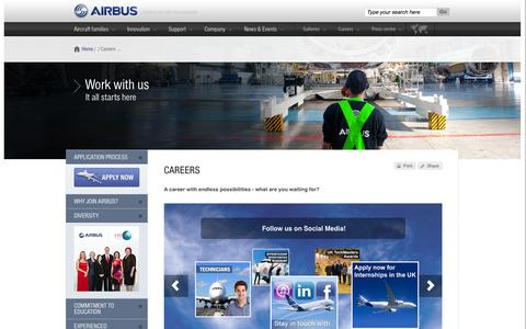 Screenshot of Jobs Page airbus.com - Airbus: A career with endless possibilities - what are you waiting for?  Airbus, a leading aircraft manufacturer - captured Sept. 18, 2014