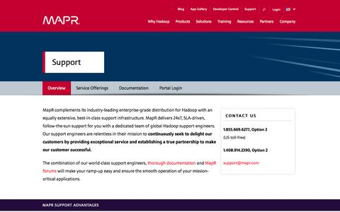 Screenshot of Support Page mapr.com - Overview | MapR - captured Oct. 27, 2014