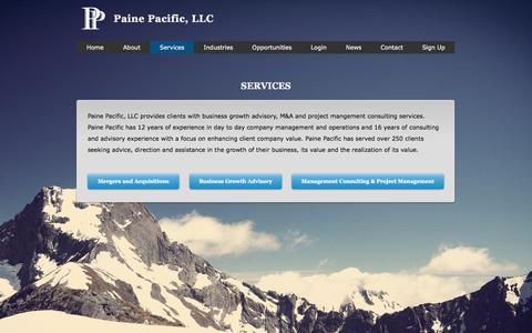 Screenshot of Services Page painepacific.com - Paine Pacific investment banking, Paine Pacific Portland Oregon growth - captured July 12, 2017