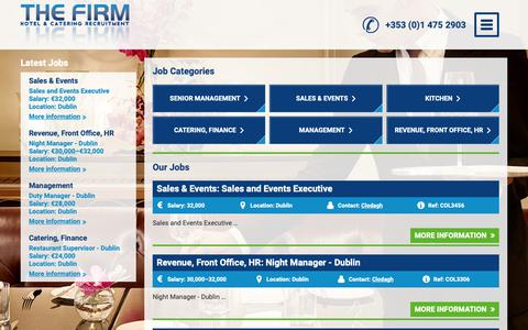Screenshot of Jobs Page thefirm.ie - Hotel, Catering & Hospitality Jobs | The Firm - captured Nov. 19, 2018