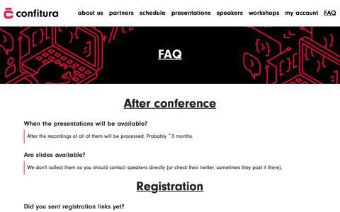 Screenshot of FAQ Page confitura.pl - Confitura 2018 - captured Sept. 29, 2018