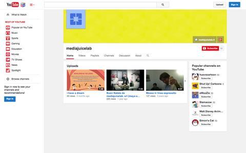 Screenshot of YouTube Page youtube.com - mediajuicelab  - YouTube - captured Nov. 5, 2014