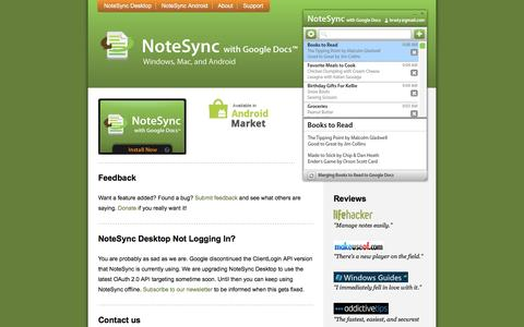 Screenshot of Support Page notesync.com - Answers to frequently asked questions about NoteSync with Google Docs - captured May 21, 2016