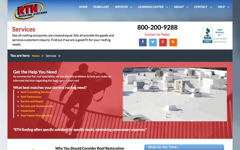 Screenshot of Services Page rtnroofing.com - RTN Roofing - Services - captured Feb. 23, 2016