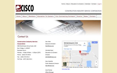 Screenshot of Contact Page cisco.org - CISCO    Construction Industry Service Corporation - captured Nov. 11, 2016