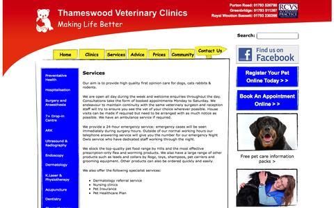 Screenshot of Services Page thameswoodvets.co.uk - Thameswood Veterinary Clinics Swindon - captured Nov. 5, 2014