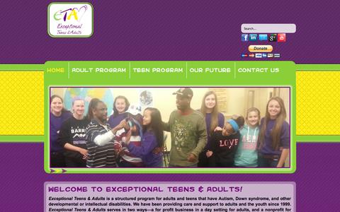 Screenshot of Home Page exceptionalteensadults.org - Home - Exceptional Teens & Adults - captured Oct. 3, 2014
