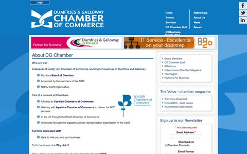 Screenshot of About Page dgchamber.co.uk - Dumfries & Galloway Chamber of Commerce - About Us - captured Feb. 9, 2016